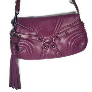 Botkier purple bag with tassle, pewter hardware